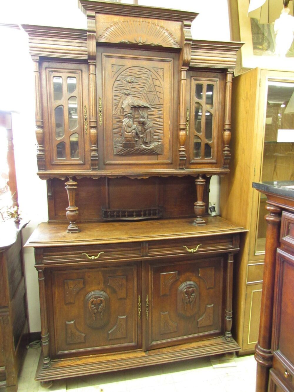 Antique European Carved Court Cupboard Cabinet Ryan S Relics