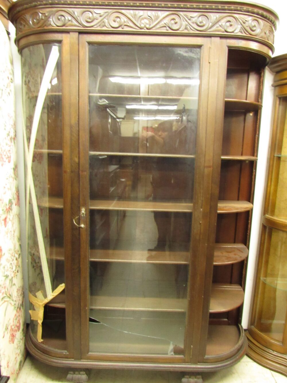 Bon Antique Large Solid Mahogany Carved Paw Foot Bow Glass China Cabinet (needs Glass  Replacement